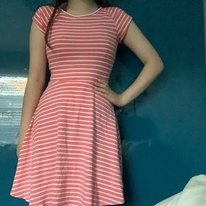 Coral and white striped dress w/ lapping open back